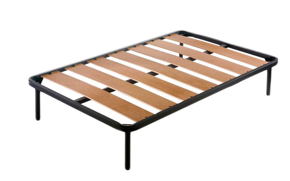 Sommier à grandes lattes de bois épaisses (toutes les dimensions), 4 pieds en métal 30cm inclus