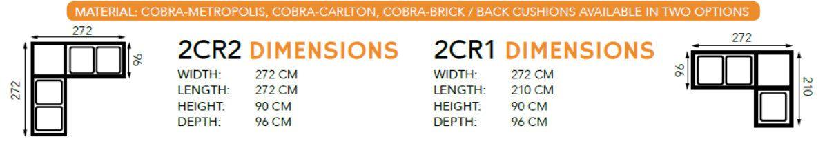 TANGO ANGLE 5/6 PLACES 2R2 tissu CARLTON + COBRA
